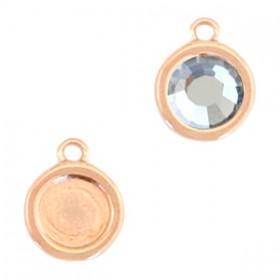 DQ metalen setting rond met 1 oog voor SS30 flatback Rosé goud (nikkelvrij)