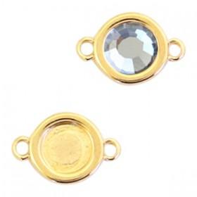 DQ metalen setting rond met 2 ogen voor SS30 flatback Goud (nikkelvrij)