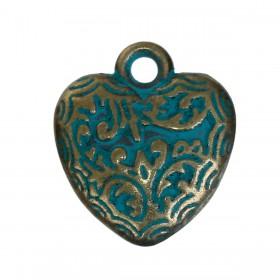 Bedeltje carved hart Brons Patina