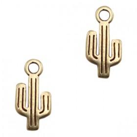 DQ metalen bedel cactus Antiek brons (nikkelvrij)
