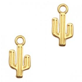 DQ metalen bedel cactus Goud (nikkelvrij)