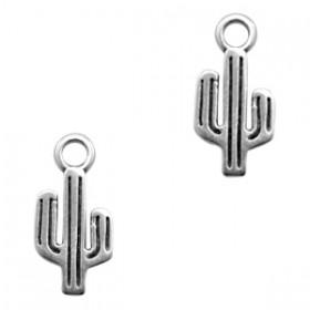 DQ metalen bedel cactus Antiek zilver (nikkelvrij)
