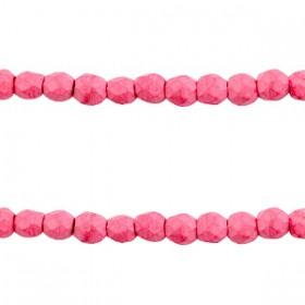 Keramiek turquoise kralen facet 4mm Hot pink