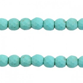 Keramiek turquoise kralen facet 6mm Turquoise blue