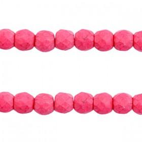 Keramiek turquoise kralen facet 6mm Hot pink