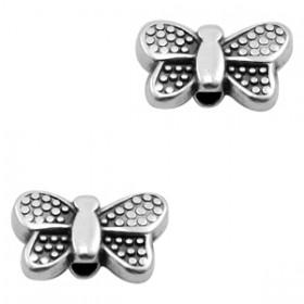 DQ Metalen kraal vlinder Antiek zilver