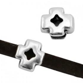 DQ metaal schuiver metaal kruis Ø3x2mm Antiek zilver (nikkelvrij)