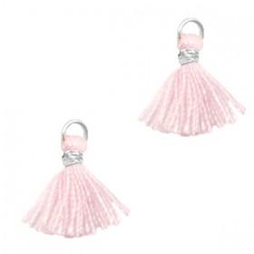Kwastjes 1cm Zilver apple blossom pink