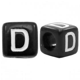 Acryl letterkraal vierkant zwart D