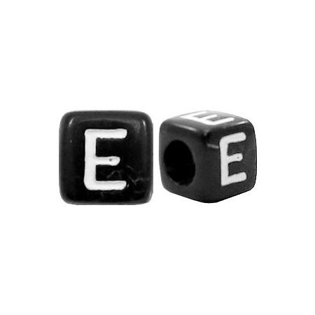 Acryl letterkraal vierkant zwart E