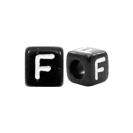 Acryl letterkraal vierkant zwart F