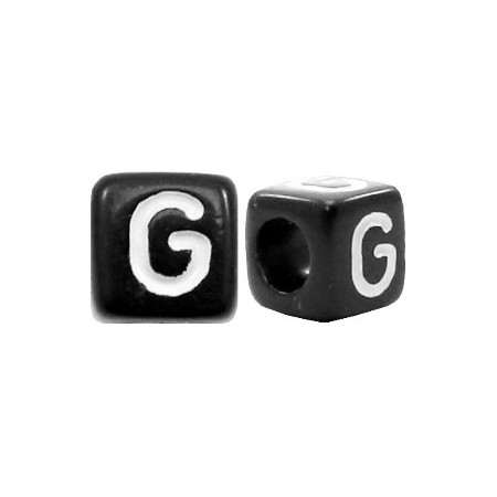 Acryl letterkraal vierkant zwart G