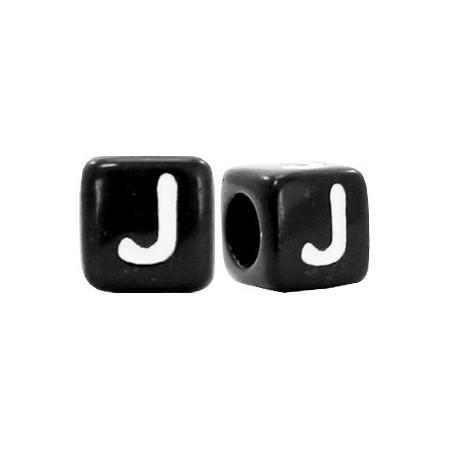Acryl letterkraal vierkant zwart J