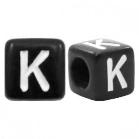 Acryl letterkraal vierkant zwart K