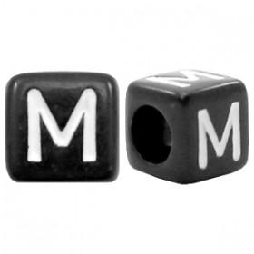 Acryl letterkraal vierkant zwart M