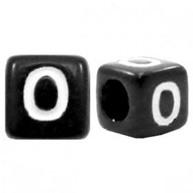 Acryl letterkraal vierkant zwart O