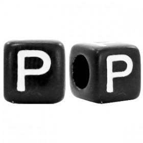 Acryl letterkraal vierkant zwart P