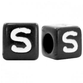 Acryl letterkraal vierkant zwart S