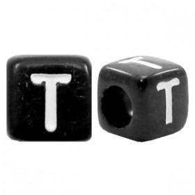 Acryl letterkraal vierkant zwart T