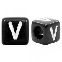 Acryl letterkraal vierkant zwart V