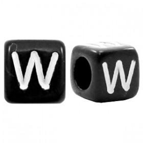 Acryl letterkraal vierkant zwart W