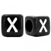 Acryl letterkraal vierkant zwart X