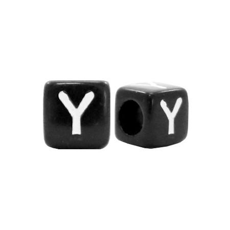 Acryl letterkraal vierkant zwart Y