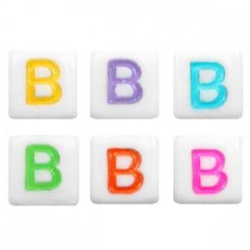 Acryl letterkraal vierkant B gekleurd