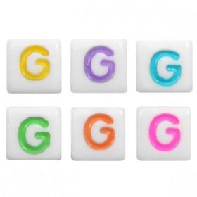 Acryl letterkraal vierkant G gekleurd