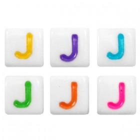 Acryl letterkraal vierkant j gekleurd