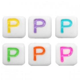 Acryl letterkraal vierkant P gekleurd