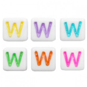 Acryl letterkraal vierkant W gekleurd