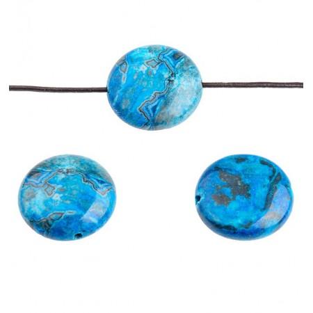 Crazy Agate plat rond 16mm Azuurblauw / Grijsblauw