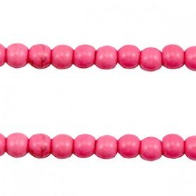 Keramiek turquoise kralen rond 4mm Hot pink