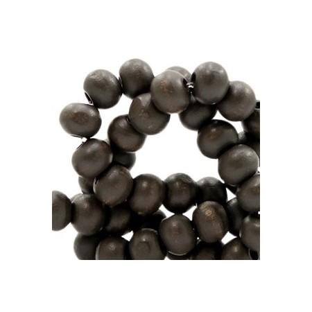 Houten Kralen Rond 6mm Anthracite brown
