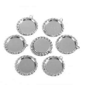 Basic setting voor cabochon 25mm bottele cap zilverkleur