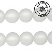 Polaris kralen matt 6 mm met groot gat Bianco wit