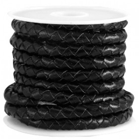 DQ leer 5mm 4 draden rond gevlochten Nero black