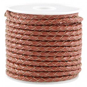 DQ leer 4mm 4 draden rond gevlochten Dark copper brown