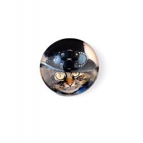 25mm cabochon steampunk print dark cat