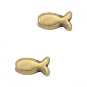 DQ metaal kraal visje Antiek brons (nikkelvrij)