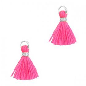 Kwastjes 1cm Zilver Neon pink