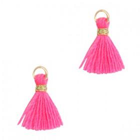 Kwastjes 1cm Goud Neon pink