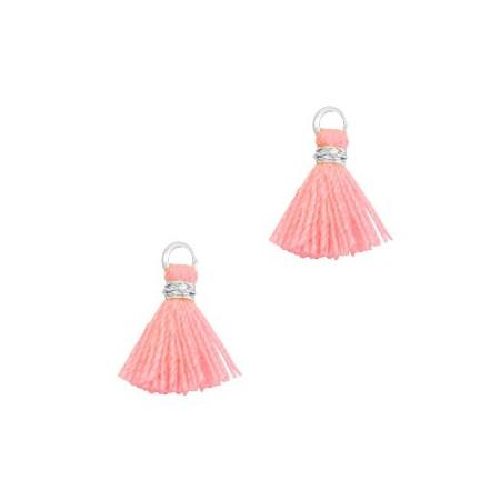 Kwastjes 1cm Zilver Neon coral pink