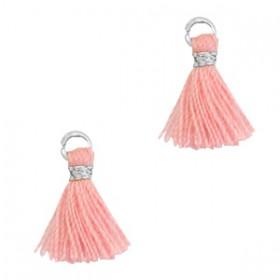Kwastjes 1cm Zilver Shell pink