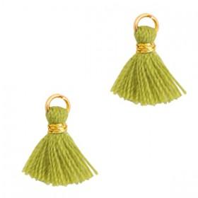 Kwastjes 1cm Goud Cedar green