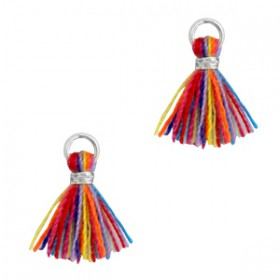 Kwastjes 1cm Zilver Multi colour red blue