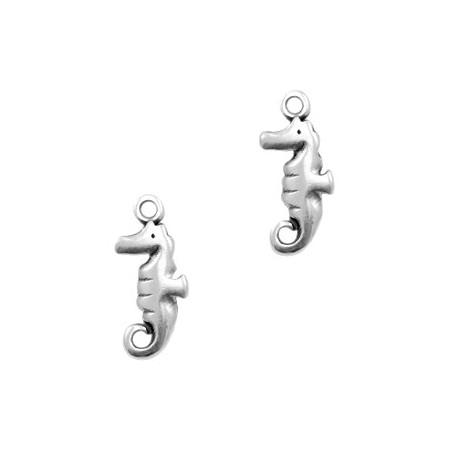 DQ metaal bedel zeepaardje Antiek zilver (nikkelvrij)