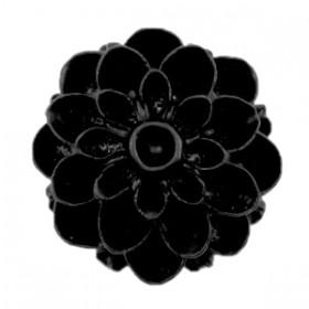 Dahlia bloem kralen 14mm matt Zwart