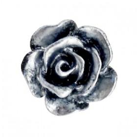 Roosjes kralen 10mm Zwart-zilver coating